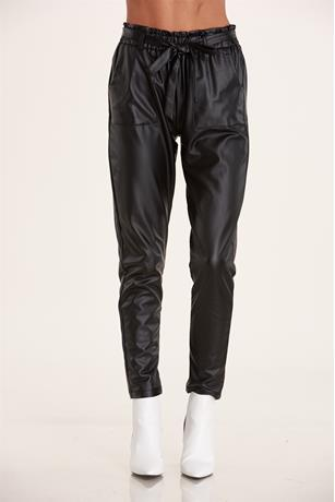 Faux Leather Paper Bag Pants BLACK