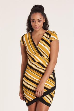 Striped Asymmetrical Dress MUSTARD