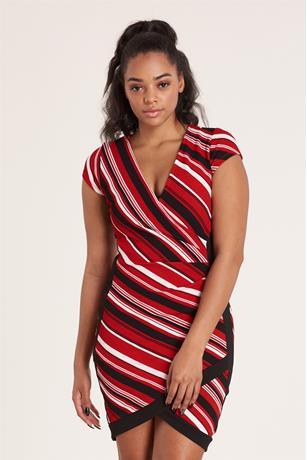 Striped Asymmetrical Dress RED