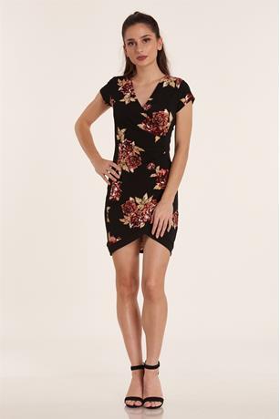 Floral Print Wrap Dress BLACK