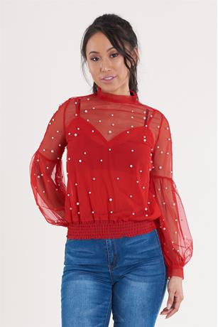 Pearl Mesh Top RED