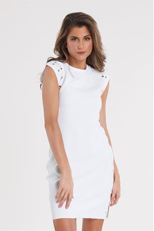 Grommet Trim Dress WHITE