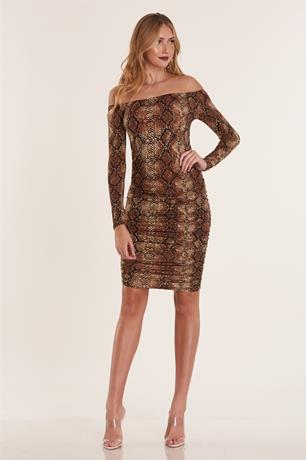Snake Print Dress BROWN