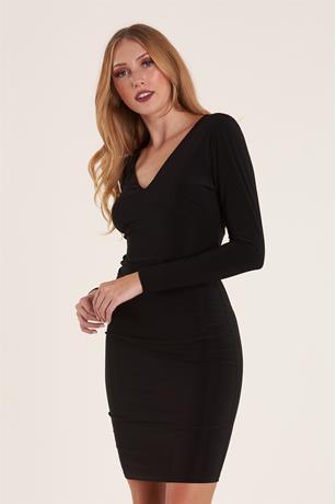 Draped Open Back Dress BLACK