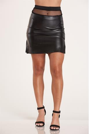 Fishnet Trim Skirt BLACK