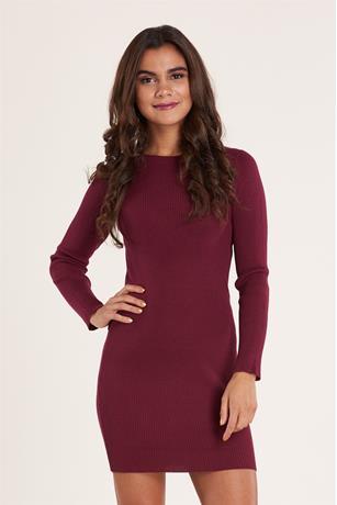 Ribbed Midi Sweater Dress WINE