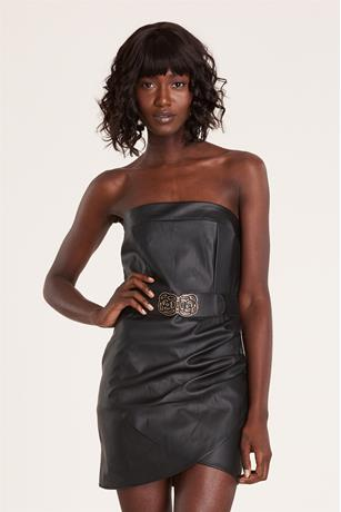 Faux Leather Tube Dress BLACK