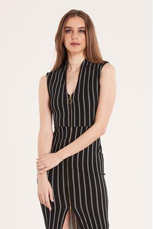 STRIPE ZIP FRONT DRESS BLKWHT