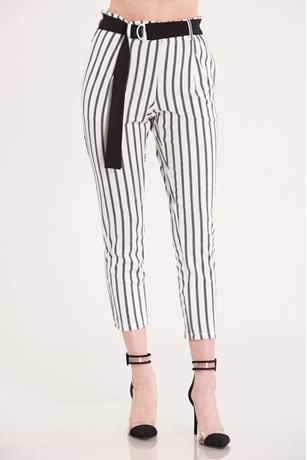 Belted Stripe Pants WHTBLK
