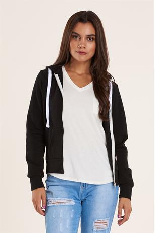 FLEECE ZIP UP HOODIE BLACK