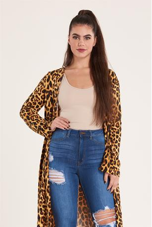 Animal Print Duster BROWN