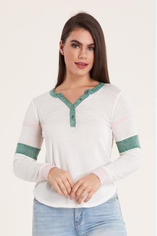 Striped Burn Out T-Shirt JADE