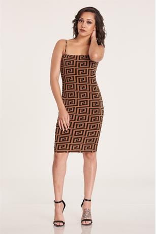 Print Tank Midi Dress BROWN