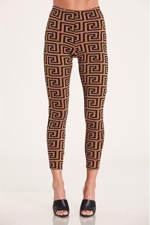 Printed Contrast Pants BROWN