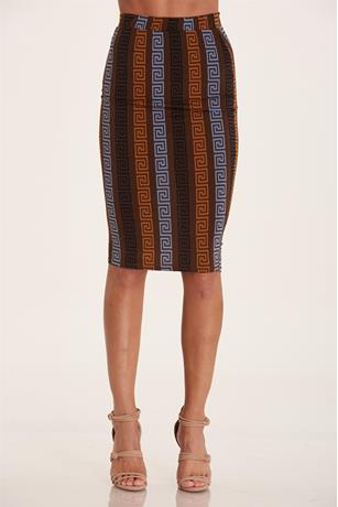 Print Midi Skirt BROWN