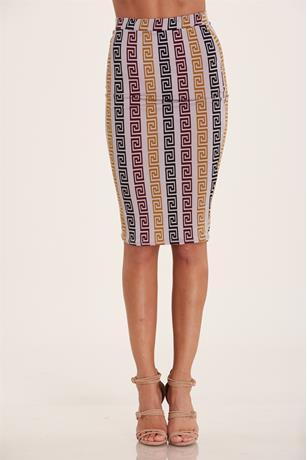 Print Midi Skirt TAUPE