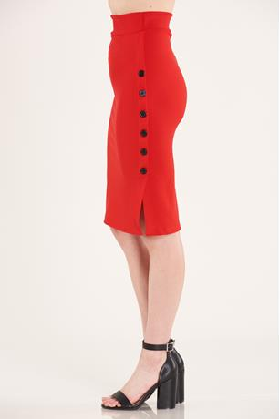 Side Button Skirt RED