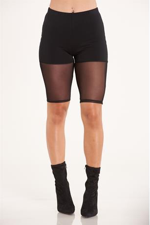 Mesh Trim Bike Shorts BLACK