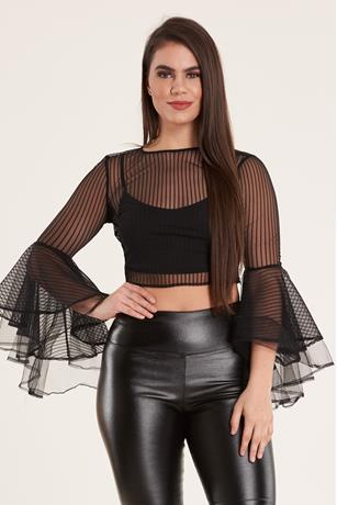 Mesh Bell Sleeve Top BLACK