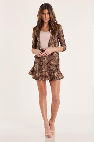 Snake Print Flare Skirt BROWN