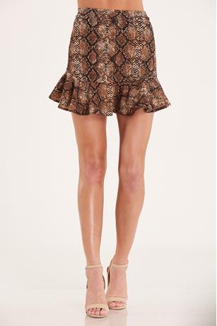 Snake Print Flare Skirt