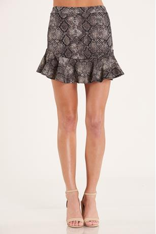 Snake Print Flare Skirt GRAY