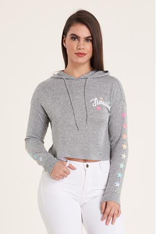 Graphic Hood Sweatshirt GRAY