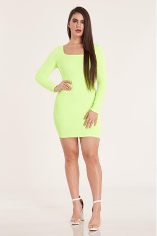 Neon Cross Back Dress LIME GREEN
