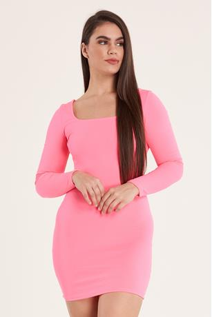 Neon Cross Back Dress PINK