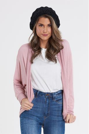 Open Knit Slouchy Cardigan MAUVE