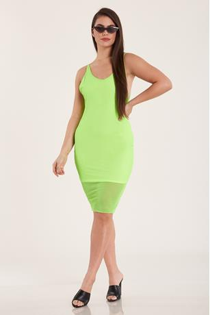 Neon Mesh Tank Dress LIME GREEN