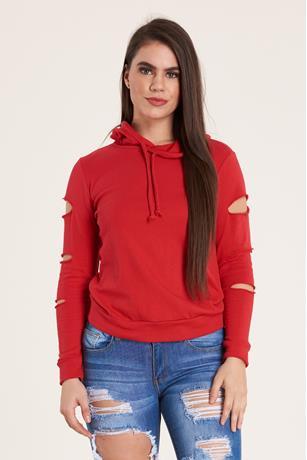 Slit Sleeve Hoodie RED