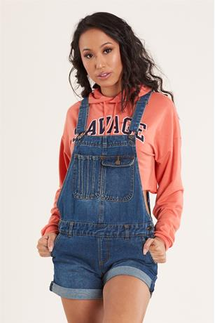 Cuffed Denim Shortalls DARK WASH
