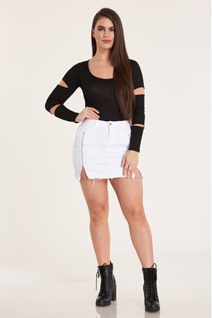 SIDE ZIPPER SKIRT WHITE