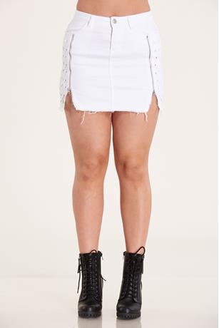 Side Zipper Skirt WHITE