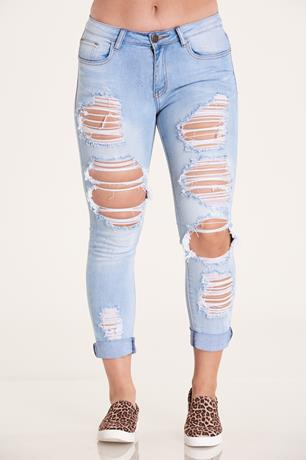 DISTRESSED CUFF JEAN LIGHT WASH