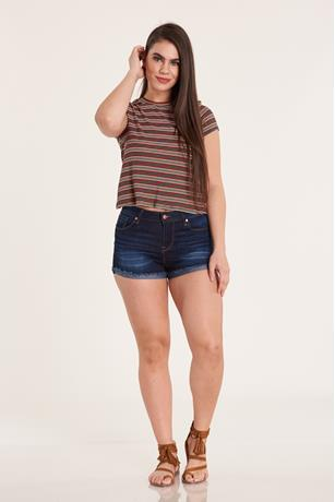 CUFF DENIM SHORT DARK WASH