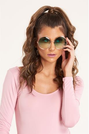 Cut-Out Round Sunglasses GREEN