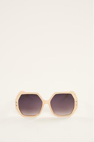 Hexagon Studded Sunglasses TAUPE