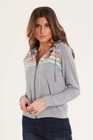 Striped Zip-Up Hoodie GRAY