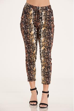 Snake Skin Print Pants BROWN