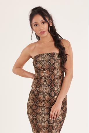 Snake Print Tube Dress BROWN