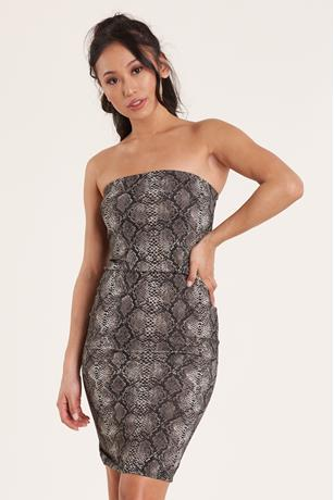 Snake Print Tube Dress GRAY
