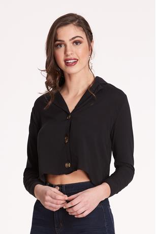Button-Front Shirt BLACK
