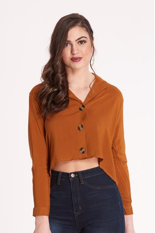 Button-Front Shirt RUST