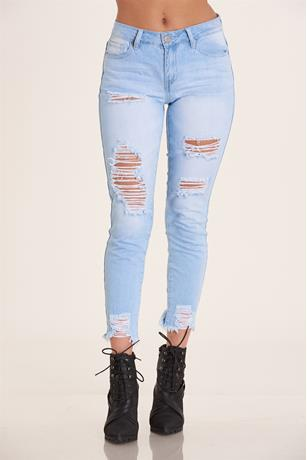 YMI Flooded Ripped Jeans LIGHT WASH