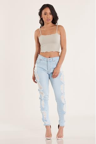 Side Distressed Jeans  LIGHT WASH