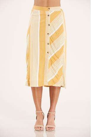 Striped Midi Skirt YELLOW