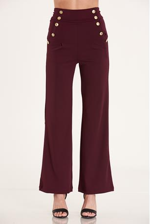 Double Breasted Pants BURGUNDY