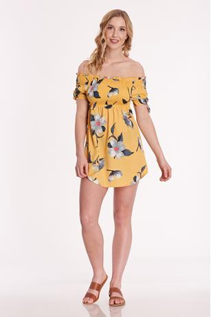 Smocked Floral Dress YELLOW